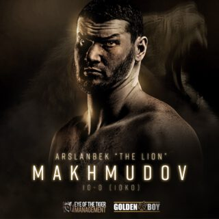 """Arslanbek Makhmudov - Golden Boy and Eye of the Tiger Management are proud to introduce another exciting talent to American audiences as NABF Heavyweight Champion Arslanbek """"Lion"""" Makhmudov (10-0, 10 KOs) has joined their co-promotional stable. Makhamudov joins the likes of David Lemieux, Yves Ulysses, Erik Bazinyan and Steven Butler in taking part in this historic co-promotional partnership."""