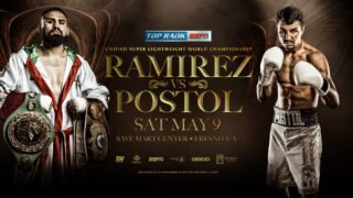 """Javier Molina - It took a little longer than expected, but WBC/WBO super lightweight world champion Jose Ramirez, the pride of California's Central Valley, is set to return. Ramirez will defend his titles against mandatory challenger and former world champion Viktor """"The Iceman"""" Postol Saturday, May 9 at Save Mart Center in Fresno, a short drive from Ramirez's hometown of Avenal. Ramirez and Postol were set to fight Feb. 1 in China, but the bout was postponed due to the coronavirus outbreak."""
