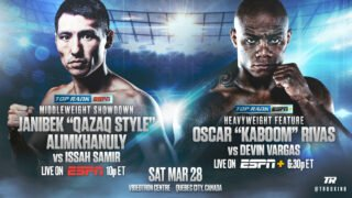 "Oscar Rivas - Janibek Alimkhanuly will bring his brand of ""Qazaq Style"" north of the border. Alimkhanuly, the latest middleweight sensation from Kazakhstan, will defend his WBO Global and WBC Continental Americas belts in a 10-rounder against fellow unbeaten Issah Samir on Saturday, March 28 at Videotron Centre in Quebec City, Canada."