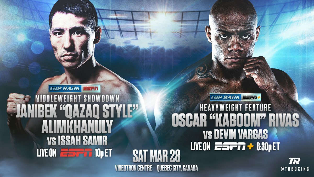 """Artur Beterbiev - Janibek Alimkhanuly will bring his brand of """"Qazaq Style"""" north of the border. Alimkhanuly, the latest middleweight sensation from Kazakhstan, will defend his WBO Global and WBC Continental Americas belts in a 10-rounder against fellow unbeaten Issah Samir on Saturday, March 28 at Videotron Centre in Quebec City, Canada."""