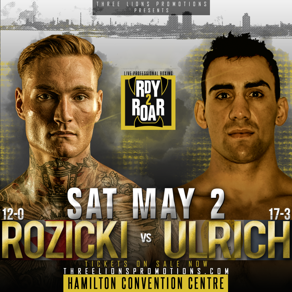 "Ryan Rozicki - There's something rumbling in from the nor'east! It rolled through Cape Breton Island back in February, knocking poor Vladimir Reznicek (9-3-2, 4KOs) flat on his back. A wicked storm is churning away, getting stronger with each obstacle it engulfs. Next stop, Hamilton, Ontario. That force of nature, conquering men from all corners of the world, is WBC International Silver Cruiserweight Champion Ryan ""Bruiser"" Rozicki (12-0-0, 12KOs). The fighting pride of Sydney Forks, Nova Scotia, Rozicki returns to the ring on May 2 to face former WBC Latino Cruiserweight Champion Jose Gregorio Ulrich (17-3-0, 6KOs) of María Juana, Santa Fe, Argentina, at the Hamilton Convention Centre."