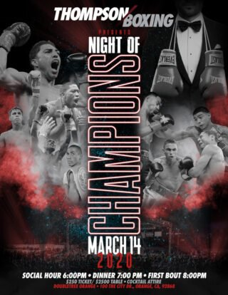 """Michael Dutchover, Rafael Reyes - Lightweight prospect Michael """"West Texas Warrior"""" Dutchover (13-1, 10 KOs), will take the top spot on Thompson Boxing's """"Night Of Champions"""" event on Saturday, March 14th, live from the Doubletree Hotel in Orange, CA."""