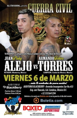 """Armando Torres, Juan Alejo - Boxeo Telemundo continues its 2020 spring series by heading to the Mexican capital with a crossroads bout. WBC #6 and current Latino Flyweight champion Armando Torres of Mexico City, will face former 2x world title challenger Juan """"Pinky"""" Alejo of Nuevo Leon, Monterrey. The bout will be 10 rounds as Torres risk his WBC belt in front of his home crowd at the famed Blackberry Auditorium in Mexico City."""