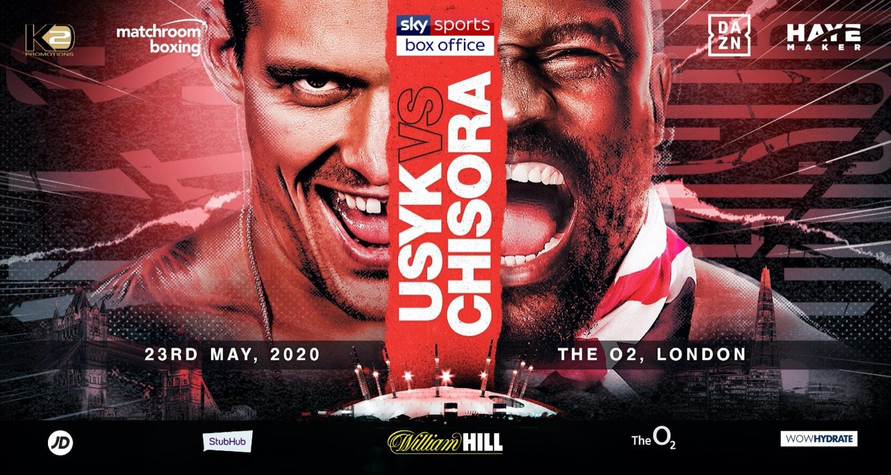 Oleksandr Usyk (17-0, 13 KOs) will be putting his WBO heavyweight mandatory spot at huge risk in two months from now on May 23 against Dereck Chisora (32-9, 23 KOs) on Sky Sports Box Office at the O2 Arena in London, England. While Usyk is supposed to win this fight, you can't rule out a victory for the 36-year-old Chisora.