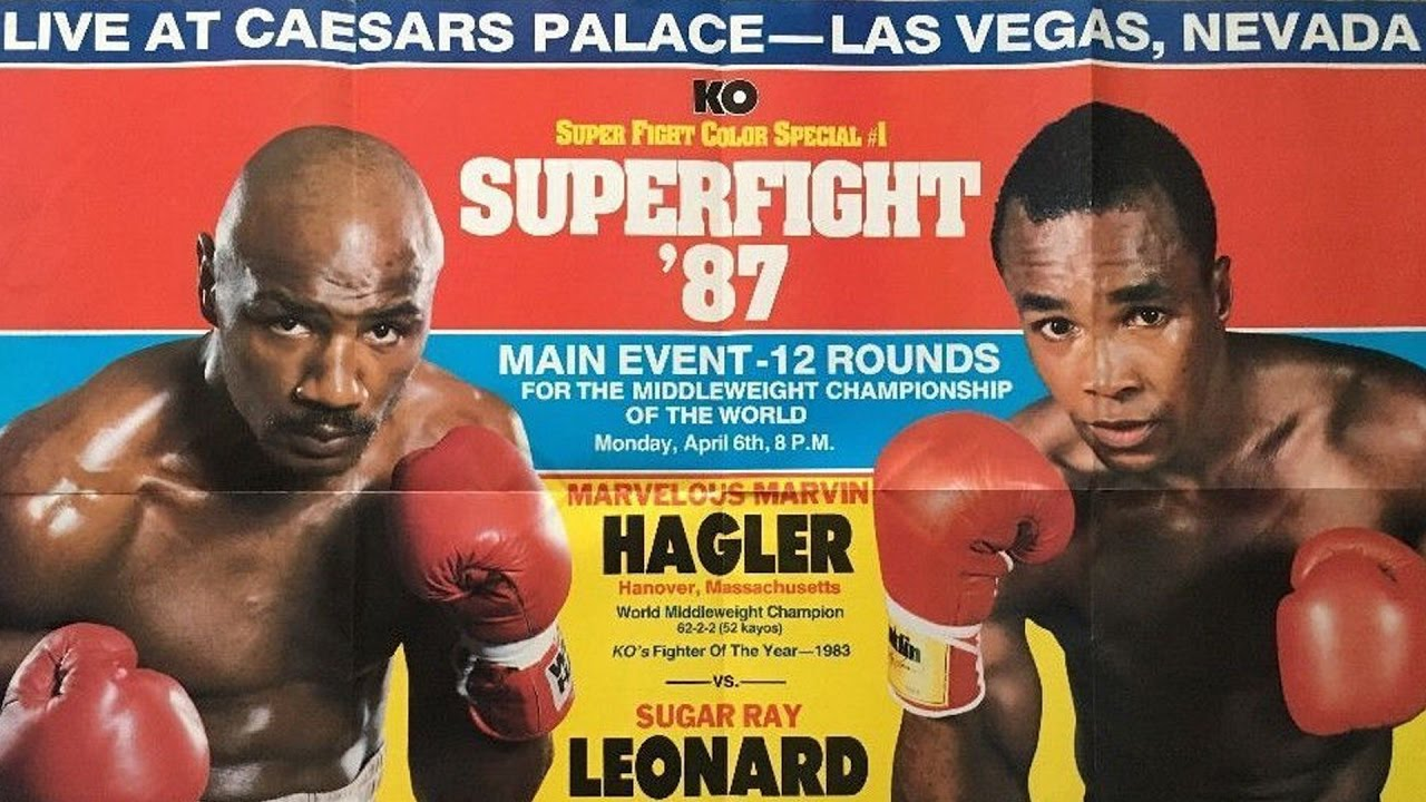 Marvin Hagler - Leonard, inactive and having undergone retinal surgery, had never before boxed as a middleweight. Hagler was unbeaten in 11 long years and he was finally getting the fight he had craved, even obsessed with, for around half that time. What's more, Hagler had recently crushed the man who had given Leonard his toughest (arguably at least) fight. There could be only one winner on the evening of April 6th, 1987, right? Wrong. Stunning the boxing world, 4-1 underdog Leonard boxed a near masterpiece as he frustrated Hagler, made him lunge and miss and generally wormed his way right into the shaven-skulled southpaw's head.