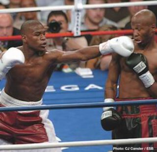 Zab Judah - Judah had a strong start in the actual fight, troubling Floyd with his own sizzling hand speed, even appearing to score a knockdown in the second-round. Mayweather's glove touched the canvas after a Judah hook scored, but referee Richard Steele did not issue a count. There would be further controversy to come.