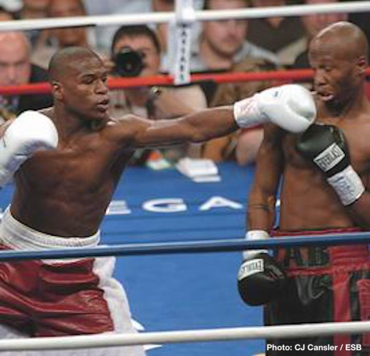 Floyd Mayweather, Zab Judah - Judah had a strong start in the actual fight, troubling Floyd with his own sizzling hand speed, even appearing to score a knockdown in the second-round. Mayweather's glove touched the canvas after a Judah hook scored, but referee Richard Steele did not issue a count. There would be further controversy to come.