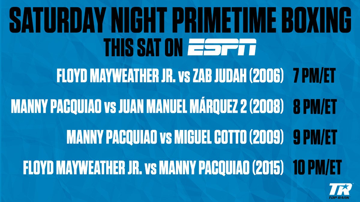 Floyd Mayweather - Pacquiao vs. Márquez 2 (8 p.m.): Pacquiao's second fight against Márquez marked the first time the Filipino fighter would challenge for a world title at super featherweight. He was attempting to become the first Asian fighter to win world titles in four different weight classes.