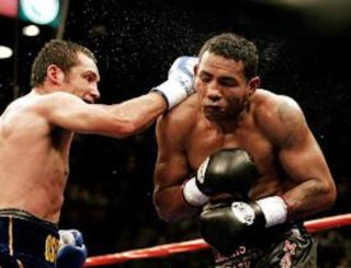 Ricardo Mayorga - Mayorga had regrouped after losing his welterweight title to Cory Spinks; winning a version of the 154 pound title, this after losing to Felix Trinidad. Mayorga had beaten Michele Piccirillo to snatch the vacant WBC super-welter strap and now he wanted to cash-in in a super-fight with the biggest non-heavyweight star in boxing. And how Mayorga enjoyed himself in the long build-up to the fight. Working himself and others into a frenzy, Mayorga was uncontrollable.
