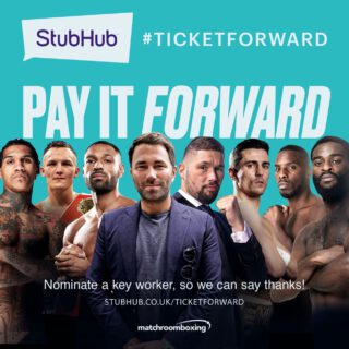 Tony Bellew - StubHub UK, as part of its #TicketForward initiative, has today announced a partnership with Matchroom Boxing which will see some of the sport's biggest names participate in one-on-one video conversations with inspirational key workers and deserving fans.