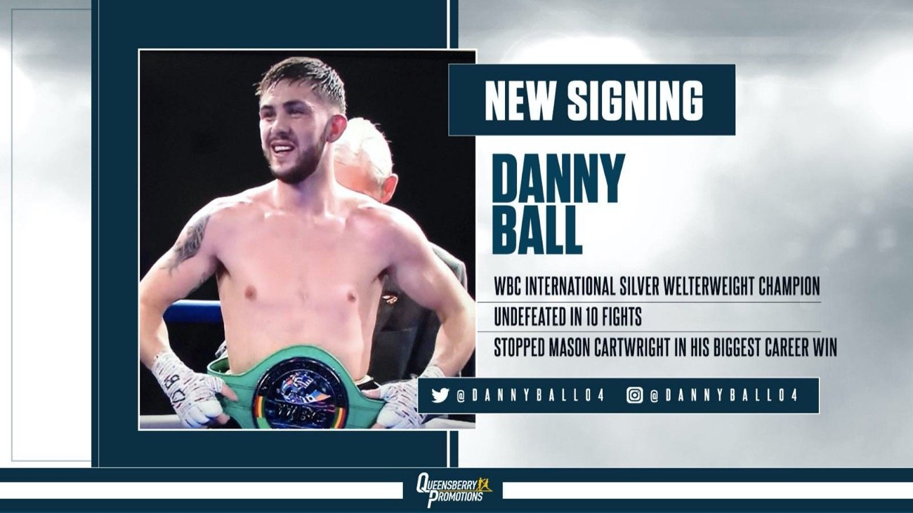 Danny Ball - THE UNBEATEN MIDLANDS puncher Danny Ball has joined the welterweight ranks at Queensberry Promotions and will now fight under the Frank Warren banner.