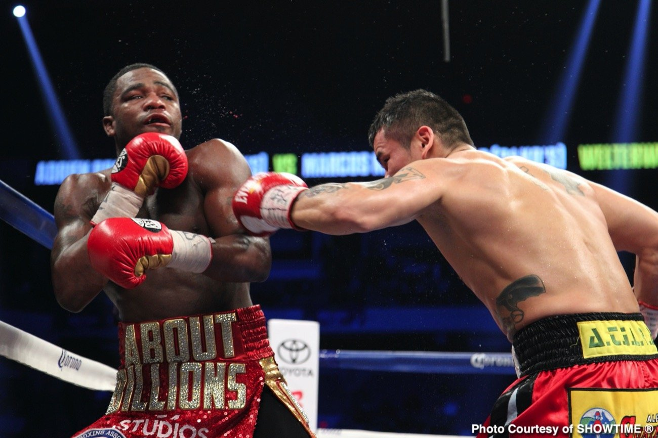 Adrien Broner, Vergil Ortiz Jr. - Undefeated welterweight contender Vergil Ortiz Jr. (15-0, 15 KOs) is looking to add Adrien Broner's name to his resume when boxing restarts. The 22-year-old Ortiz Jr. is called out out the 31-year-old Broner (33-4-1, 24 KOs) in a way by posting a six-year-old photo of the two on his social media site and asking his boxing fans if they want to see him fight him.