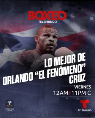 """Orlando Cruz - Boxeo Telemundo, the #1 Spanish-language boxing program in the U.S., continues its special encore presentations this Friday, May 15 at 12 a.m. ET on Telemundo with the story of former World Champion Orlando """"El Fenomeno"""" Cruz. The trailblazer fighter made history on Boxeo Telemundo as the first openly gay boxer."""