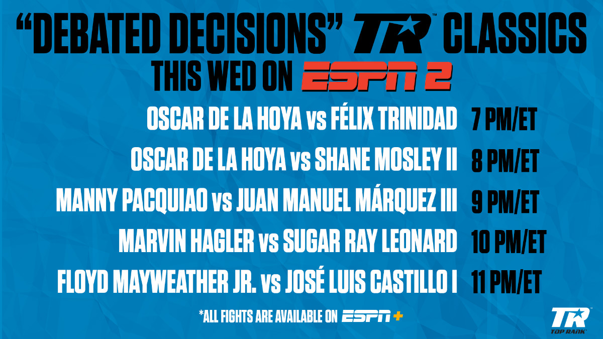 Marvin Hagler - Wednesday, May 20, will be a night of boxing on ESPN2 when the network airs five consecutive hours of the sweet science featuring some of the sport's most debated decisions. The action will begin at 7 p.m. ET with Oscar De La Hoya vs. Félix Trinidad.