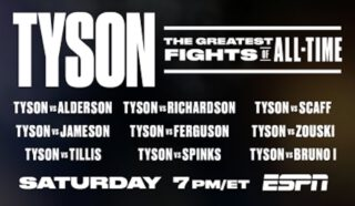 "Mike Tyson - Memorial Day Weekend on ESPN and ESPN+ - ESPN will open its extensive library of vintage boxing matches this weekend to present four hours of ""Iron"" Mike Tyson in some of the most iconic fights of his legendary career on Saturday, May 23, from 7 p.m. to 11 p.m. ET."