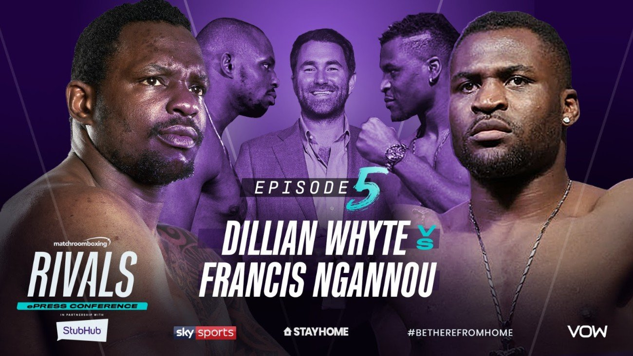 Dillian Whyte, Francis Ngannou - Interim WBC Heavyweight World Champion Dillian Whyte and Heavyweight UFC star Francis Ngannou will come together for a special ePress conference at 7 pm (BST) tomorrow (Saturday, May 30) on Matchroom Boxing's YouTube channel.