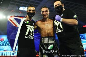 Abraham Nova, Avery Sparrow, Jason Moloney, Leonardo Baez - Two days after bantamweight contender Jason Moloney watched his identical twin brother, Andrew, lose his super flyweight world title, he evened the Las Vegas score. Jason Moloney defeated Leonardo Baez by TKO Thursday evening after Baez's corner stopped the bout following the conclusion of the seventh round.