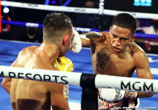 Andrew Moloney, Christopher Diaz, Joshua Franco, Miguel Contreras - According to the oddsmakers, it was an upset, but Joshua Franco (17-1-2, 8 KOs) was not surprised. Franco defeated Andrew Moloney via unanimous decision to win the WBA super flyweight world title Tuesday evening by scores of 115-112 and 114-113 2x.