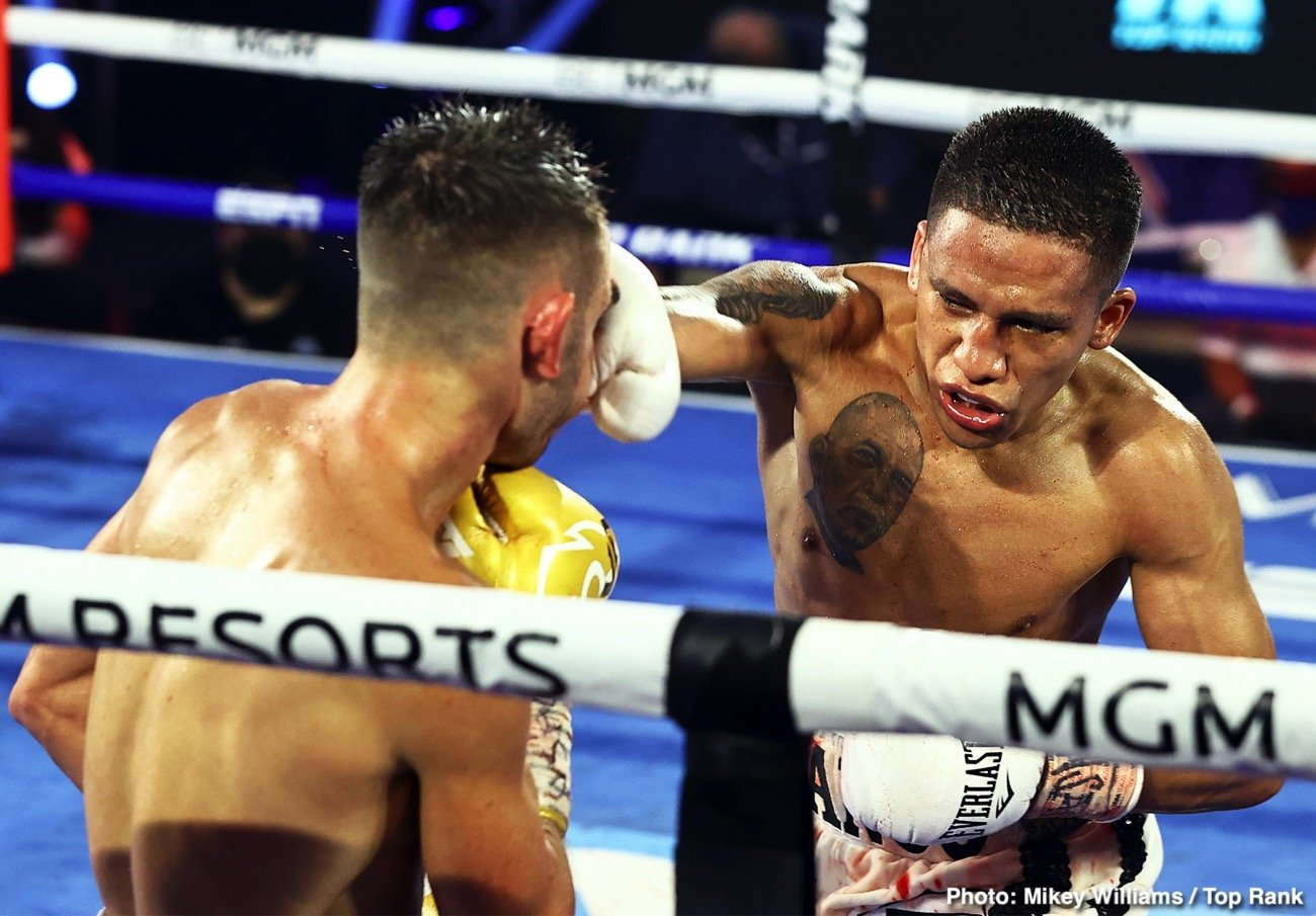 """Boxing Results - Underdog Joshua Franco (17-1-2, 8 KOs) beat WBA World super flyweight champion Andrew Moloney (21-1, 14 KOs) by a narrow 12 round unanimous decision on Tuesday night on ESPN at The Bubble"""" at the MGM Grand in Las Vegas."""