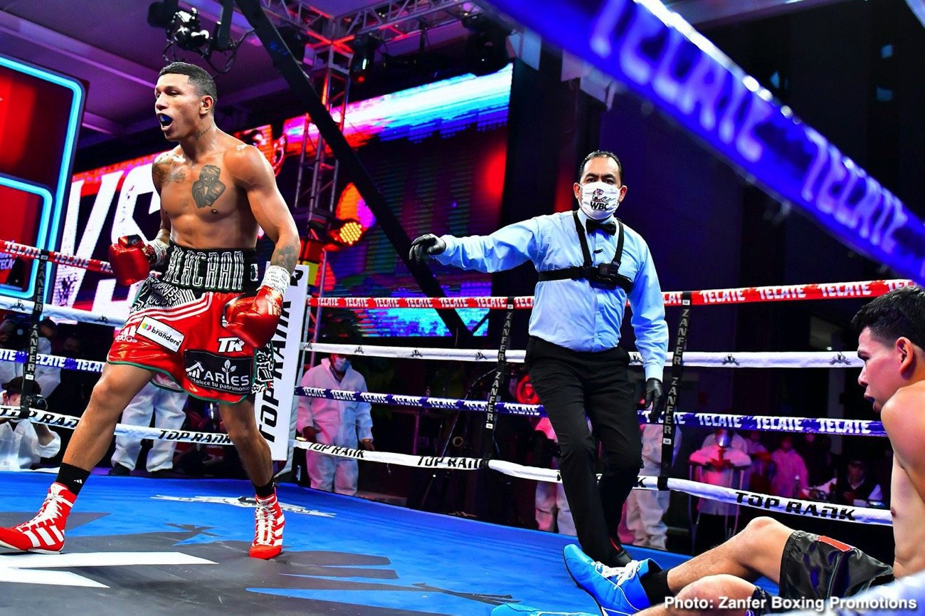 Miguel Berchelt - WBC super featherweight world Miguel Berchelt shook off the ring rust Saturday evening, stopping the rugged Eleazar Valenzuela in the sixth round of a lightweight non-title bout at TV Azteca Studios.
