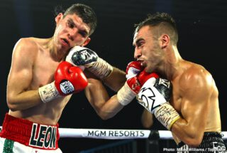 Abraham Nova - Two days after bantamweight contender Jason Moloney watched his identical twin brother, Andrew, lose his super flyweight world title, he evened the Las Vegas score. Jason Moloney defeated Leonardo Baez by TKO Thursday evening after Baez's corner stopped the bout following the conclusion of the seventh round.