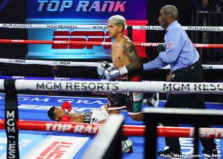Yenifel Vicente - Jessie Magdaleno beat his overmatched opponent Yenifel Vicente on Thursday night by a 10th round disqualification at 'The Bubble at the MGM Grand in Las Vegas, Nevada.