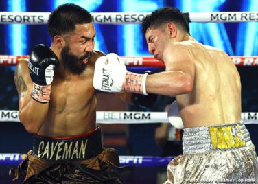 """Andrew Moloney, Joshua Franco - Underdog Joshua Franco (17-1-2, 8 KOs) beat WBA World super flyweight champion Andrew Moloney (21-1, 14 KOs) by a narrow 12 round unanimous decision on Tuesday night on ESPN at The Bubble"""" at the MGM Grand in Las Vegas."""