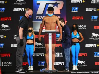 Felix Caraballo - Shakur Stevenson (13-0, 7 KOs) and Felix Caraballo (13-1-2, 9 KOs) weighed in at 130-lbs for their super featherweight non-title match-up on Thursday on June 9. Caraballo in 1/2 pound over the limit at 130.5 lbs during the first weigh-in attempt, and then had to go back take the extra weight off. It was no problem for him to make the weight when he reweighed.