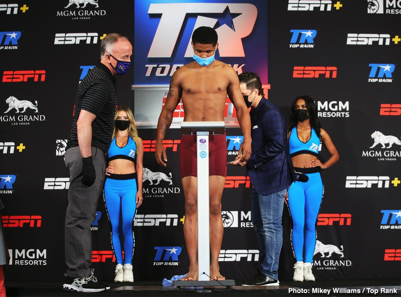 Felix Caraballo, Shakur Stevenson - Shakur Stevenson (13-0, 7 KOs) and Felix Caraballo (13-1-2, 9 KOs) weighed in at 130-lbs for their super featherweight non-title match-up on Thursday on June 9. Caraballo in 1/2 pound over the limit at 130.5 lbs during the first weigh-in attempt, and then had to go back take the extra weight off. It was no problem for him to make the weight when he reweighed.