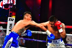 Emanuel Navarrete, Uriel Lopez - Navarrete uses body attack to stop Lopez in the sixth round of featherweight main event