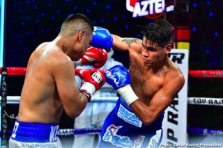 Boxing Results - Navarrete uses body attack to stop Lopez in the sixth round of featherweight main event