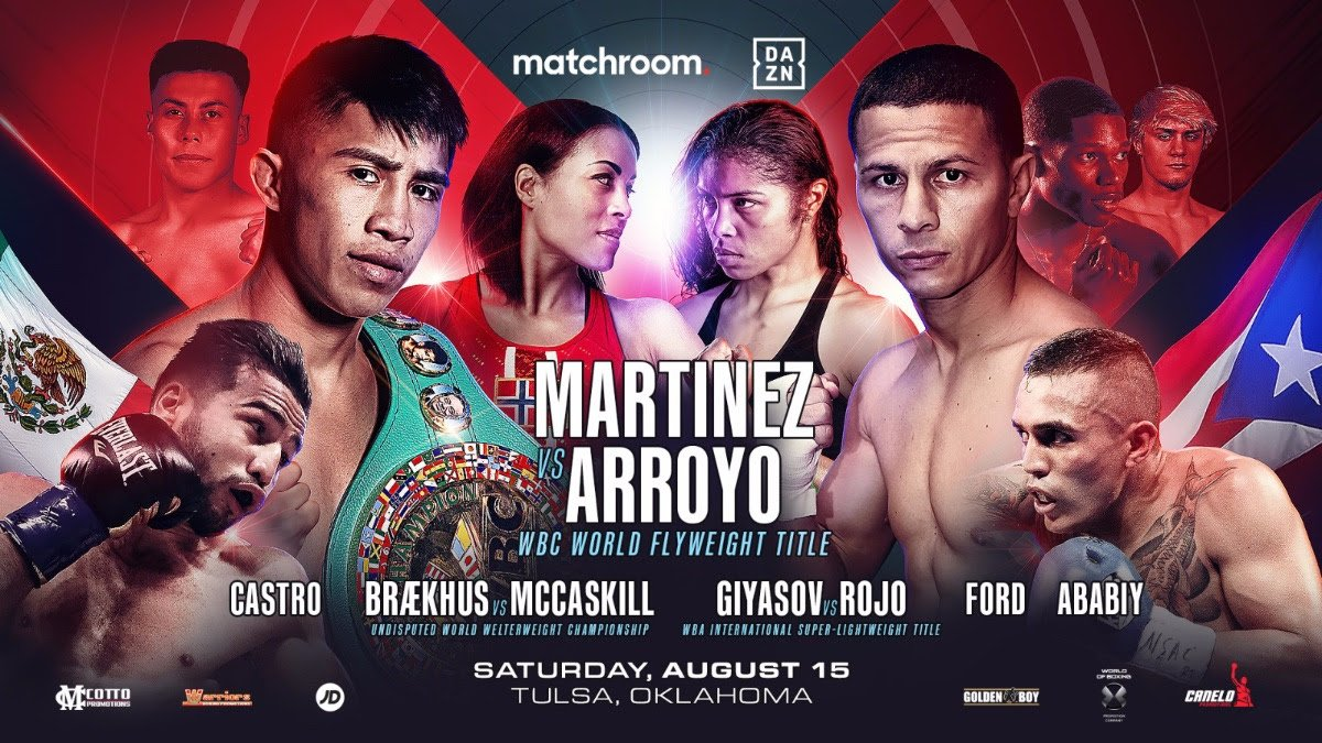 Cecilia Braekhus - Julio Cesar Martinez will defend his WBC World Flyweight title against #1 ranked McWilliams Arroyo as Eddie Hearn's Matchroom Boxing USA return to action in Tulsa, Oklahoma on Saturday, August 15, exclusively live on DAZN in the US.
