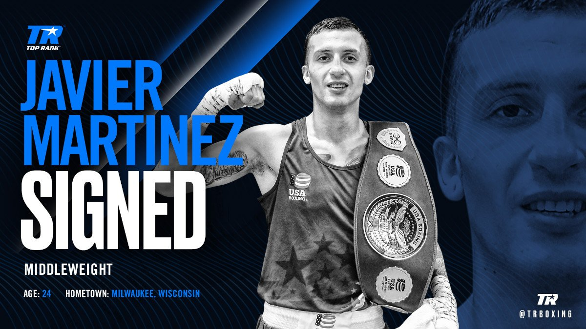 Javier Martinez - Javier Martinez, USA Boxing's top-rated fighter at 165 pounds, has signed a multi-year contract with Top Rank and will make his professional debut as a middleweight June 30 live on ESPN.