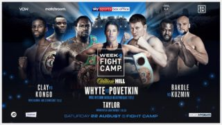 Ted Cheeseman -  Eddie Hearn and Matchroom are delighted to announce the full boxing schedule for Fight Camp – an unrivalled summer of elite boxing based at the Matchroom HQ in Brentwood, Essex with the first three weeks shown live on Sky Sports in the UK and DAZN in the US – and the final week shown live on Sky Sports Box Office.