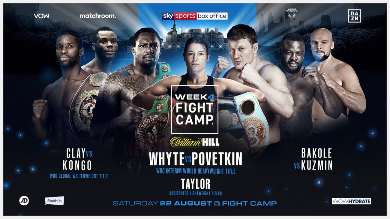 Alexander Povetkin -  Eddie Hearn and Matchroom are delighted to announce the full boxing schedule for Fight Camp – an unrivalled summer of elite boxing based at the Matchroom HQ in Brentwood, Essex with the first three weeks shown live on Sky Sports in the UK and DAZN in the US – and the final week shown live on Sky Sports Box Office.