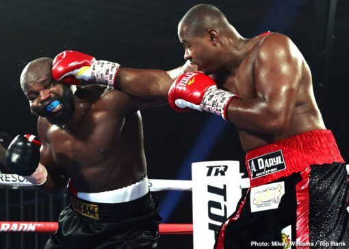Carlos Takam, Jerry Forrest - CARLOS TAKAM (now 39-5-1 28KO's) took to the national stage on Thursday night when he faced off with fellow heavyweight contender, JERRY FORREST (now 26-4 20KO's) in a 10-round main event on ESPN. Both men were scheduled to fight different opponents - Oscar Rivas for Takam, and Jarrell Miller for Forrest, but when both fights fell through because of injury and a PED finding respectively, Takam and Forrest took the opportunity to square off.