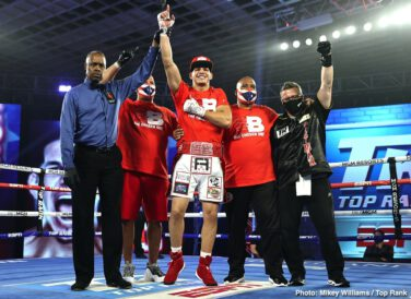 "Edgar Berlanga - When doomed 130/135 pound terror Edwin Valero was making his incredible run of a quite amazing 18 straight wins, all coming via first-round KO, fans wondered how far Valero could go. Eventually winning world titles in two divisions, Valero's run of first-round wins came to an end but ""El Inca"" never was taken the distance in any fight; his final record reading 27-0(27) – Valero meeting a well-documented death by suicide due to the ghasty murder of his wife by his own hand."