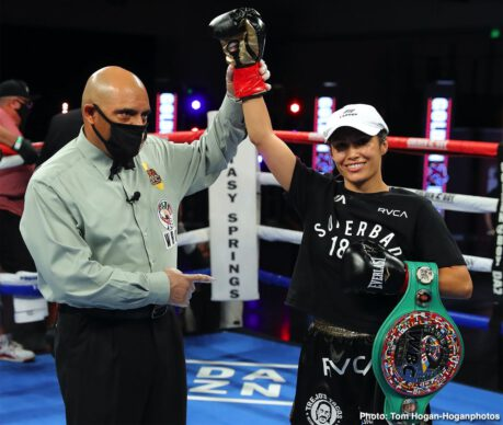 Samuel Vargas, Vergil Ortiz Jr. - Rising 147-pound star Vergil Ortiz Jr. (16-0, 16 KOs) of Grand Prairie, Texas defended his WBA Gold Welterweight Title via seventh-round stoppage against Samuel Vargas (31-6-2, 14 KOs) of Bogota, Colombia tonight in Golden Boy and DAZN's return to regularly scheduled pugilistic action. The bout took place inside a fan-less Fantasy Springs Resort Casino in Indio, California.