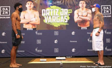 "Hector Tanajara Jr., Mercito Gesta, Samuel Vargas, Shane Mosley Jr, Vergil Ortiz - Let the countdown begin. Boxing on DAZN is back  with the return of the future of boxing and knockout artist, Vergil Ortiz Jr. (15-0, 15 KOs). The 2019 consensus ""Prospect of the Year"" faces his most dangerous challenger to date when he meets Samuel Vargas (31-5-2, 14 KOs) next Friday, July 24, live from California and exclusively on DAZN at 8 p.m. ET/5 p.m. PT."