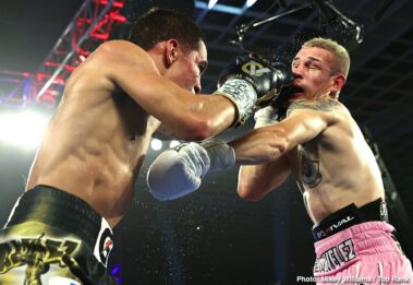 Chris Avalos, Edgar Berlanga, Eric Moon, Isaac Dogboe, Óscar Valdez - Oscar Valdez sealed his victory with a 10th round knockout win over Jayson Velez, and Isaac Dogboe and Edgar Berlanga also won on the undercard on Tuesday night at the MGM Grand in Las Vegas, Nevada.