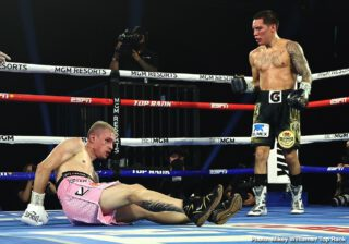 Óscar Valdez - Oscar Valdez sealed his victory with a 10th round knockout win over Jayson Velez, and Isaac Dogboe and Edgar Berlanga also won on the undercard on Tuesday night at the MGM Grand in Las Vegas, Nevada.