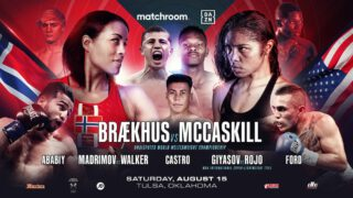 Eric Walker - Israil Madrimov is looking to steal the show again to convince promoter Eddie Hearn to put on a huge show in Uzbekistan as he faces Eric Walker in a final eliminator for the WBA World Super-Welterweight title in the streets of downtown Tulsa, Oklahoma on Saturday night (August 15) live on DAZN.