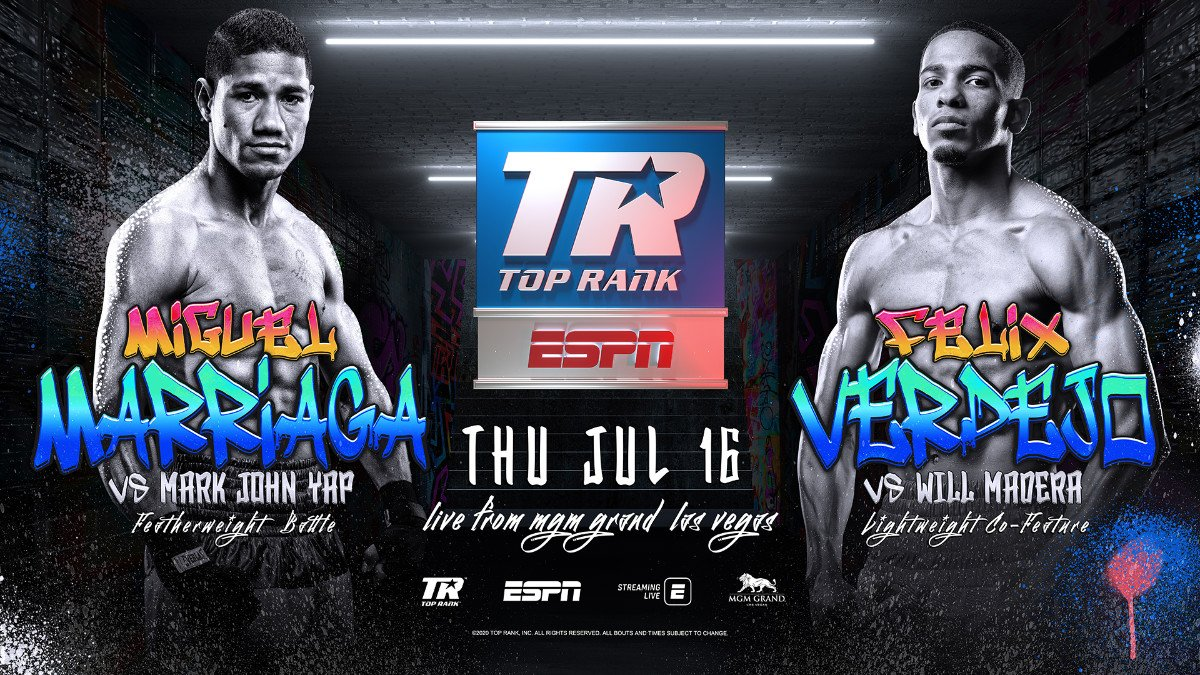 """Felix Verdejo, Mark John Yap, Miguel Marriaga, Will Madera - Miguel """"Escorpion"""" Marriaga's quest for a fourth world title shot continues inside the MGM Grand """"Bubble"""" Thursday, July 16, in a scheduled 10-round featherweight main event against Filipino veteran Mark John Yap."""