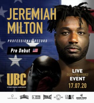 Jeremiah Milton - Amateur standout, heavyweight boxer Jeremiah Milton, will make his highly anticipated professional debut this Friday, July 17, on a live PPV streaming event promoted by Toe 2 Toe Promotions. The 4-round bout will take place at the Venice Center in Venice, Florida, as Jeremiah will face Cedric Washington (0‐1) of Jonesboro, Arkansas.