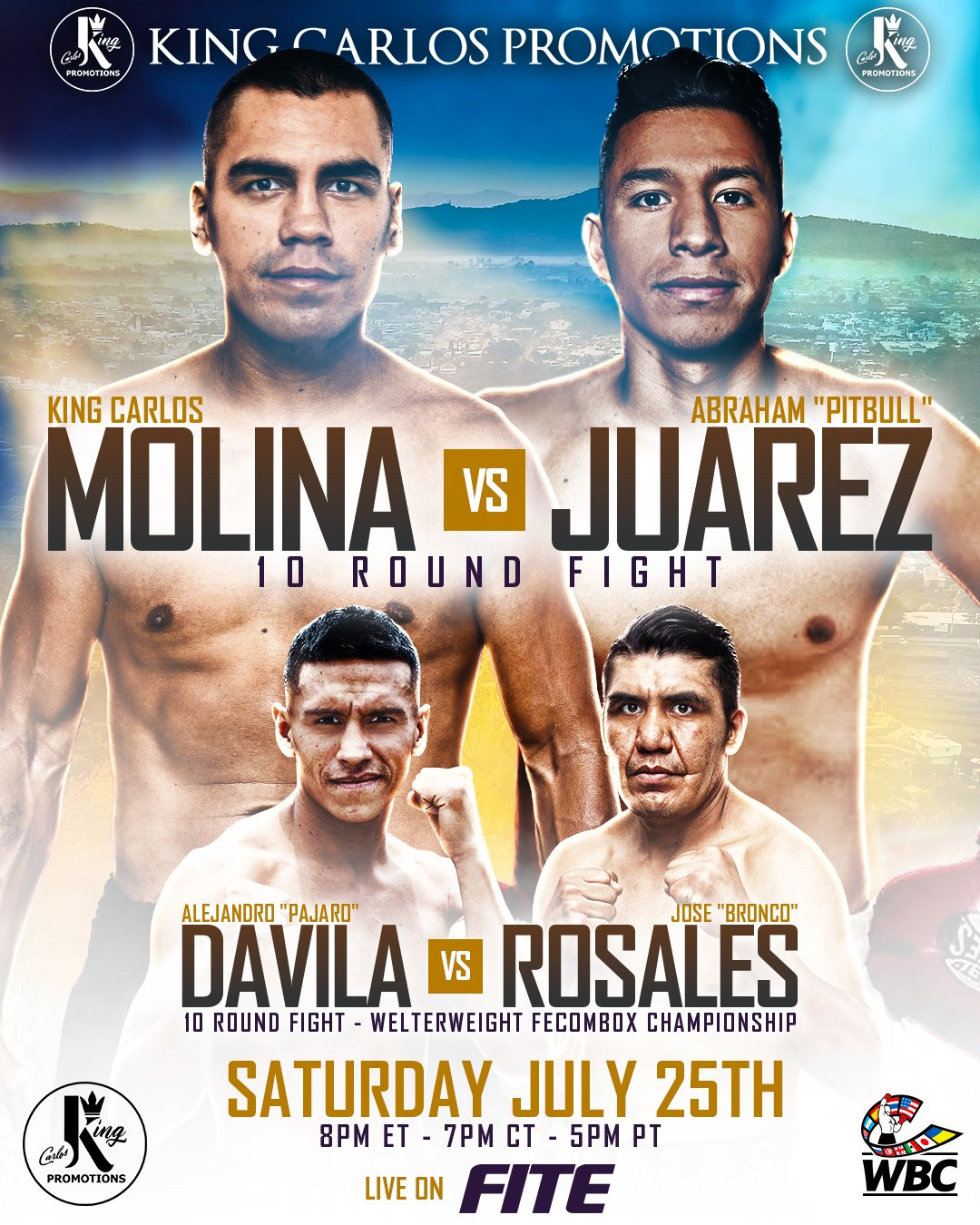 Abraham Juarez, Carlos Molina - King Carlos Promotions is coming back with another electrifying boxing event July 25th in his home state of Michoacan, Mexico, The 5 fight card closed-door event will stream live on FITE TV (8 p.m. ET/ 4 p.m. PT).