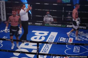 Troy Williamson - Carl Frampton (28-2, 16 KOs) picked up his second win at super featherweight in stopping Darren Traynor (16-4, 7 KOs) in the seventh round in a body-punching clinic on Saturday night at the BT Sport Studios in London.