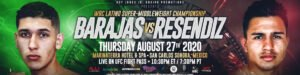 """Juan Barajas -  Super middleweight prospects Juan """"Just Business"""" Barajas (11-0, 7 KOs) and Jose """"Toro"""" Resendiz (11-0, 8 KOs) for the vacant World Boxing Council (WBC) Latino title, headlining this Thursday night's (August 27) RJJ Boxing on UFC FIGHT PASS® event, starting at 10:30 p.m. ET / 7:30 p.m. PT, from Marinaterra Hotel & Spa in San Carlos, Sonora, Mexico, in an extremely rare match between undefeated prospects."""