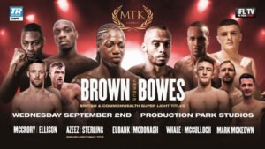 Akeem Ennis-Brown - MTKFightNight begins at 2 p.m. ET/11 a.m. PT - The Commonwealth super lightweight king, Philip Bowes, hopes to add more hardware to his collection. Bowes will defend his belt in a 12-rounder against the unbeaten Akeem Ennis Brown this Wednesday, Sept. 2 from Production Park Studios in Wakefield, England. The vacant British title will also be at stake.