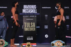 Cecilia Braekhus, Francisco Rojo, Jessica McCaskill, Nikita Ababiy, Raymond Ford, Shakhram Giyasov - This Saturday, live on DAZN, Cecilia Brækhus (36-0, 9 KOs) will look to cement her legacy as undisputed welterweight champion with an opportunity to break Joe Louis's 72-year-old record for most consecutive world title defenses. In the way of making history is the former super lightweight champion Jessica McCaskill (8-2, 3 KOs) who will enter the ring on Saturday night looking to transform her ring story with a victory over Brækhus. Both main event fighters successfully made weight on Friday afternoon in Tulsa ahead of their highly-anticipated bout tomorrow night on DAZN (8 p.m. ET).