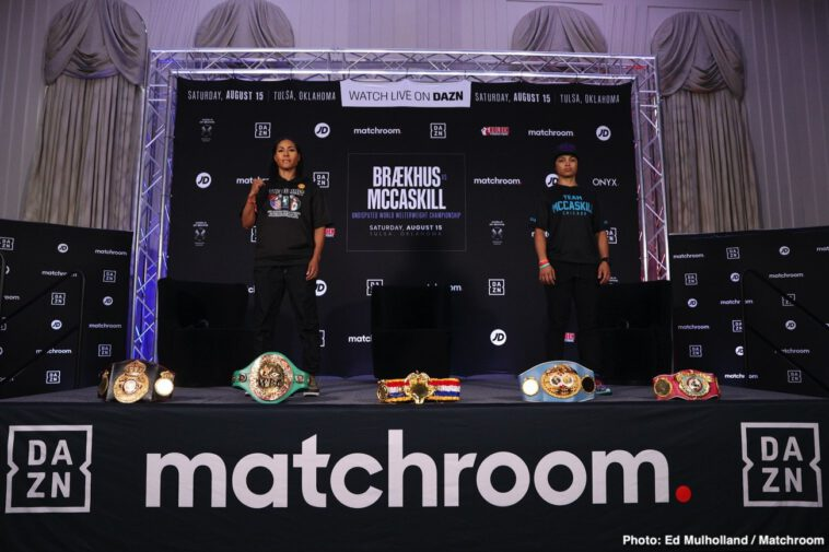 """Cecilia Braekhus, Eric Walker, Israil Madrimov, Jessica McCaskill, Nikita Ababiy, Raymond Ford, Shakhram Giyasov - Cecilia Brækhus - """"This is going be a hell of a fight. I think everyone who knows our careers, fights, and how hard we work - they will know this will be a great fight. We have both been fighting since January, we both have been in camp, so we will see come Saturday that I'm in the best shape and form ever."""